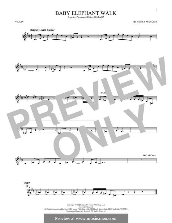 Baby Elephant Walk: Für Violine by Henry Mancini