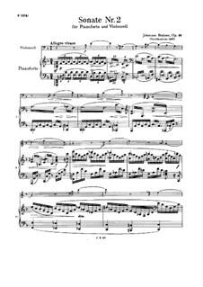 Sonate für Cello und Klavier Nr.2 in F-Dur, Op.99: Partitur by Johannes Brahms