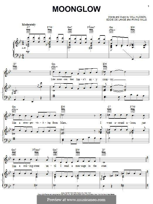 Moonglow: Für Stimme und Klavier (oder Gitarre) by Irving Mills, Eddie De Lange, Will Hudson