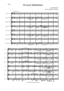 Os justi, WAB 30: For clarinet choir by Anton Bruckner
