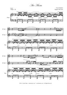 Ave Maria, D.839 Op.52 No.6: Duet for Bb-trumpet by Franz Schubert