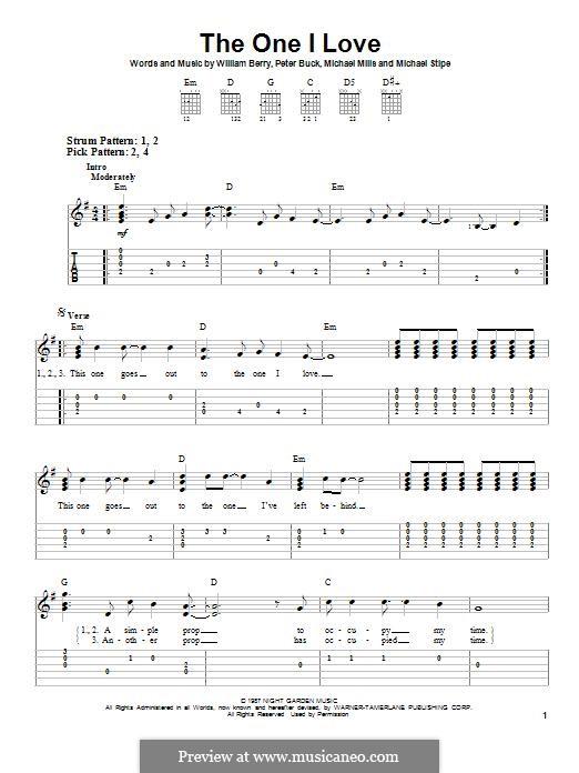 The One I Love (R.E.M.): Für Gitarre mit Tabulatur by Mike Mills, Michael Stipe, Peter Buck, William Berry