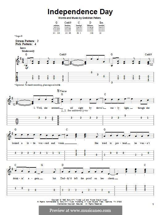 Independence Day: Für Gitarre mit Tabulatur by Gretchen Peters