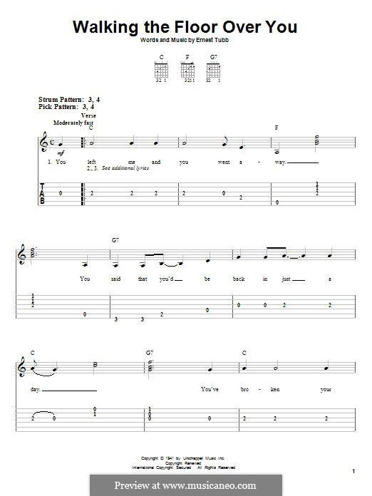 Walking the Floor Over You: Für Gitarre mit Tabulatur by Ernest Tubb