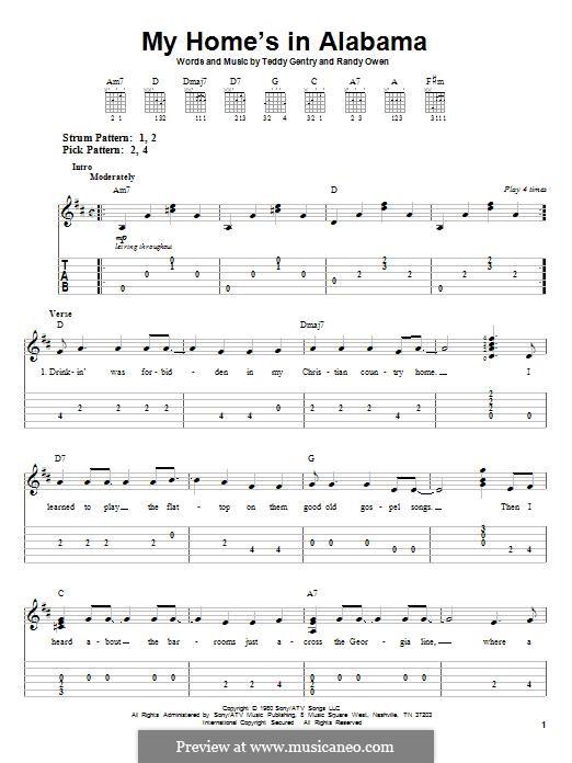 My Home's in Alabama: Für Gitarre mit Tabulatur by Randy Owen, Teddy Gentry