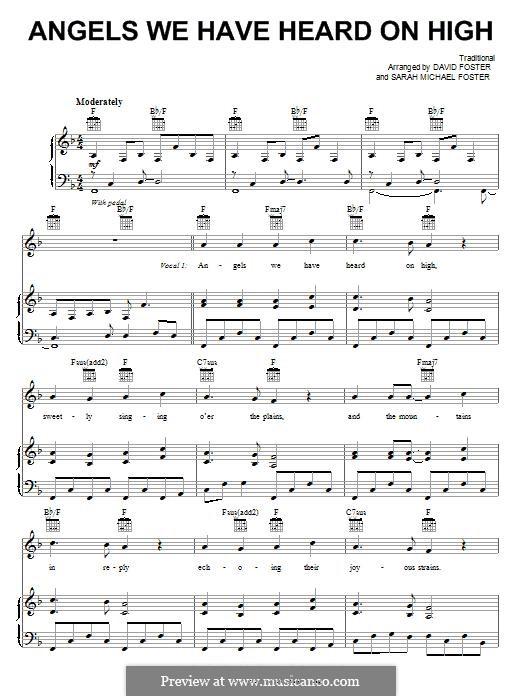 Angels We Have Heard on High: Für Stimme und Klavier (oder Gitarre) by folklore