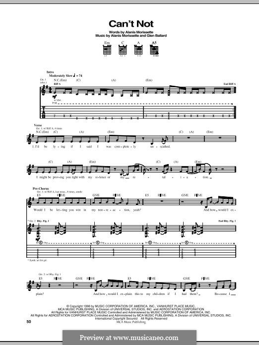 Can't Not: Für Gitarre mit Tabulatur by Alanis Morissette, Glen Ballard