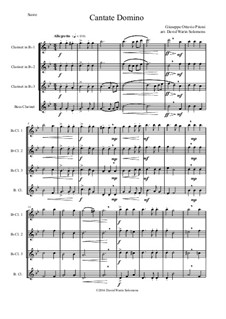 Cantate Domino: For clarinet quartet (3 clarinets and 1 bass clarinet) by Giuseppe Pitoni