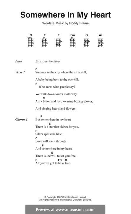 Somewhere in My Heart (Aztec Camera): Text und Akkorde by Roddy Frame