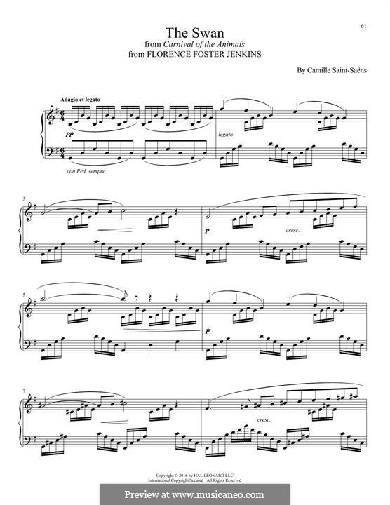 Der Schwan: Für Klavier by Camille Saint-Saëns