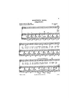Sechs Gedichte, Op.4: Nr.4 Jägerlied by Edvard Grieg