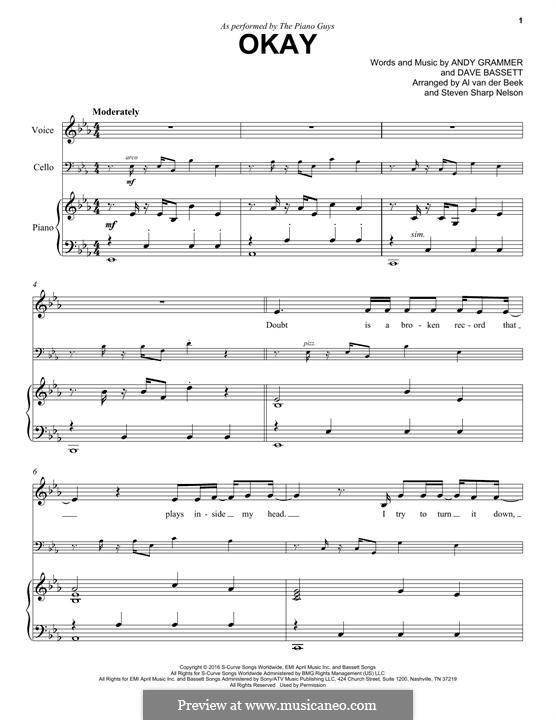 Okay (The Piano Guys): Für Klavier by Dave Bassett, Andy Grammer