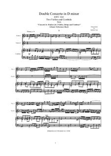 Doppelkonzert für zwei Violinen, Streicher und Basso Continuo in d-Moll, BWV 1043: Arrangement for two violins and piano by Johann Sebastian Bach