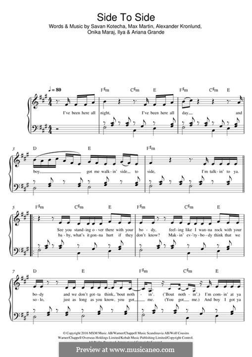 Side To Side (feat. Nicki Minaj): Für Klavier by Alexander Kronlund, Max Martin, Onika Maraj, Savan Kotecha, Ariana Grande, Ilya