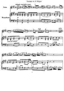 Sonate für Violine und Cembalo in A-Dur, HWV 372 Op.1 No.14: Version für Violine und Klavier by Georg Friedrich Händel