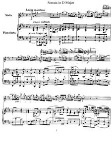 Sonate für Violine und Cembalo in D-Dur, HWV 371 Op.1 No.13: Version für Violine und Klavier – Partitur, Stimme by Georg Friedrich Händel