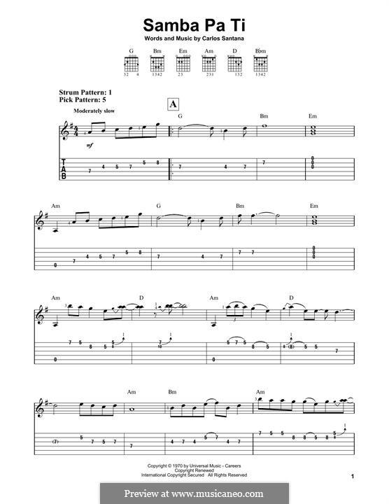 Samba Pa Ti (Santana): Für Gitarre mit Tabulatur by Carlos Santana
