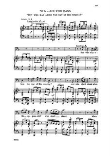 Nr.6 Doch wer mag ertragen den Tag seiner Ankunft: Klavierauszug mit Singstimmen by Georg Friedrich Händel