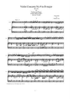 Konzert für Violine und Streicher Nr.9 in D-Dur, RV 230: Bearbeitung für Violine und Klavier by Antonio Vivaldi