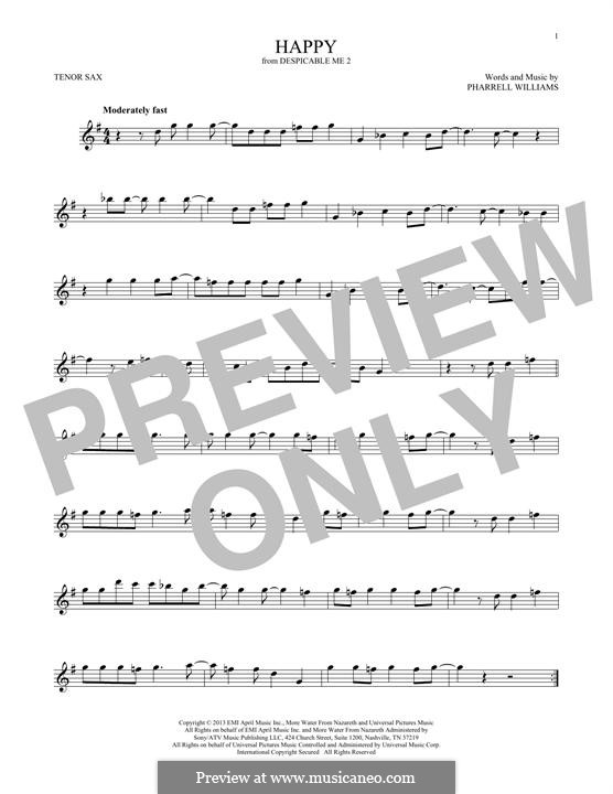 Happy (from Despicable Me 2): Für Tenorsaxophon by Pharrell Williams