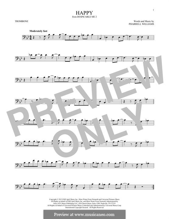 Happy (from Despicable Me 2): For trombone by Pharrell Williams