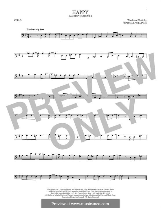 Happy (from Despicable Me 2): Für Cello by Pharrell Williams