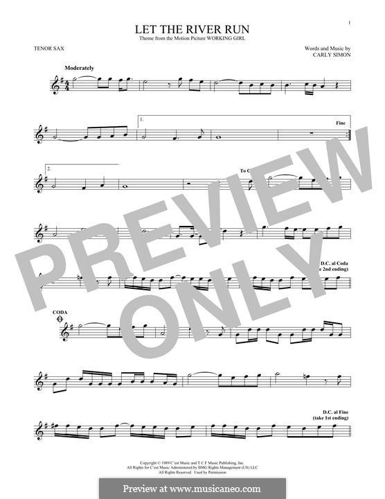 Let the River Run: Für Tenorsaxophon by Carly Simon