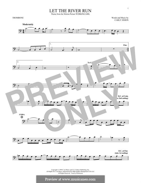 Let the River Run: For trombone by Carly Simon