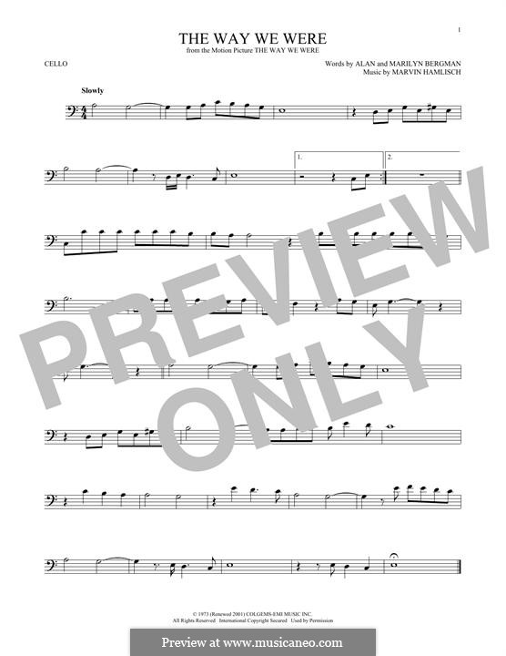 The Way We Were (Barbra Streisand): Für Cello by Marvin Hamlisch
