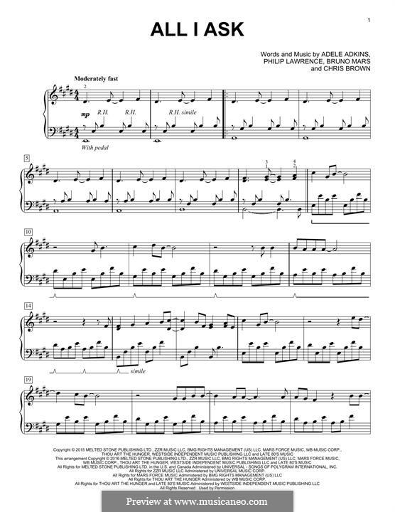 All I Ask: Für Klavier by Adele, Christopher Brown, Bruno Mars, Philip Lawrence