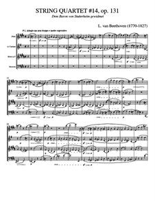 Streichquartett Nr.14 in cis-Moll, Op.131: Version for wind quartet by Ludwig van Beethoven