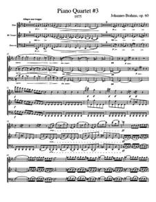 Klavierquartett Nr.3 in c-Moll, Op.60: Version for wind quartet - score, parts by Johannes Brahms