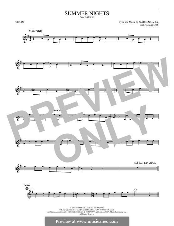 Summer Nights (from Grease): Für Violine by Jim Jacobs, Warren Casey