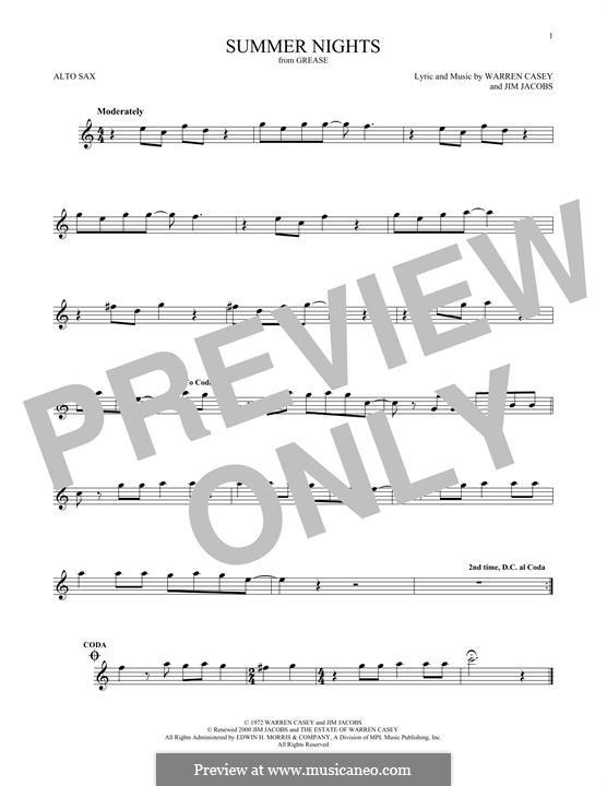 Summer Nights (from Grease): Für Altsaxophon by Jim Jacobs, Warren Casey