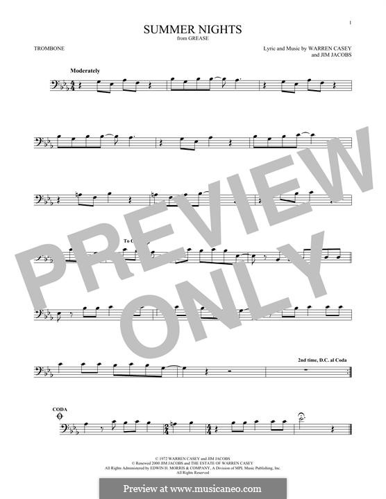 Summer Nights (from Grease): For trombone by Jim Jacobs, Warren Casey