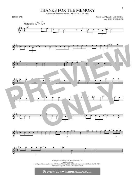 Thanks for the Memory: Für Tenorsaxophon by Ralph Rainger