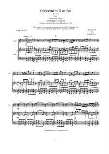 Sechs Konzerte für Streicher, Op.6: Concerto No.6 in D Minor. Version for violin and piano, RV 239 by Antonio Vivaldi