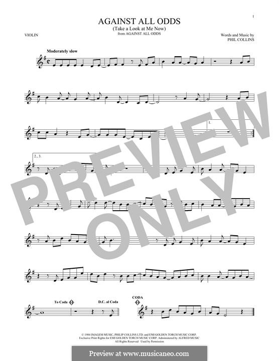 Against All Odds (Take a Look at Me Now): Für Violine by Phil Collins