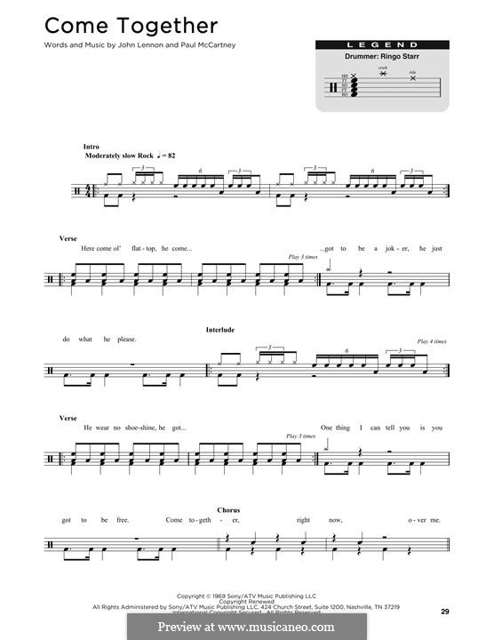 Come Together (The Beatles): Drum set by John Lennon, Paul McCartney