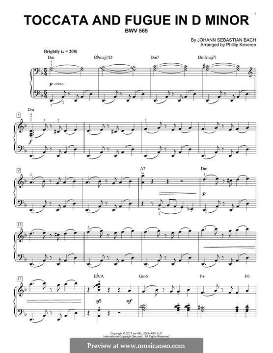 Toccata und Fuge in d-Moll, BWV 565: Für Klavier by Johann Sebastian Bach