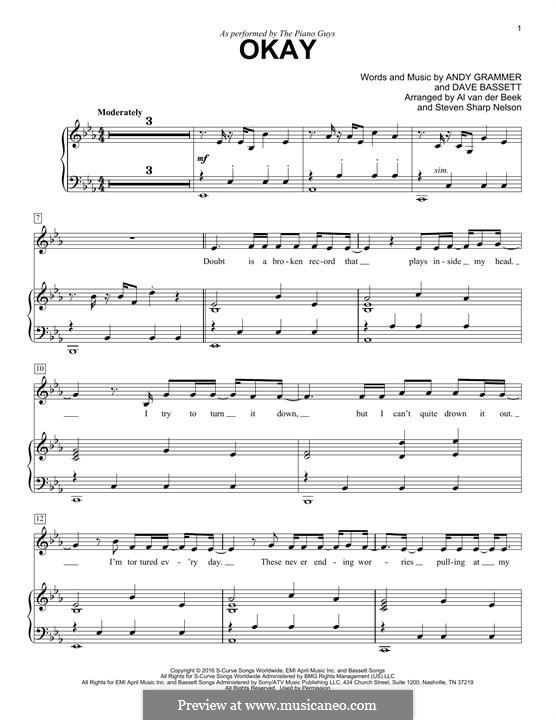 Okay (The Piano Guys): Für Stimme und Klavier by Dave Bassett, Andy Grammer