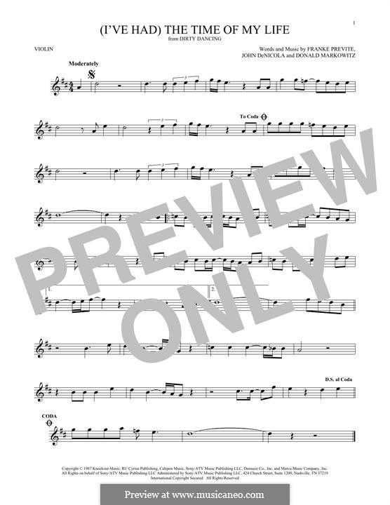 (I've Had) The Time of My Life (from Dirty Dancing): Für Violine by Donald Markowitz, Franke Previte, John DeNicola