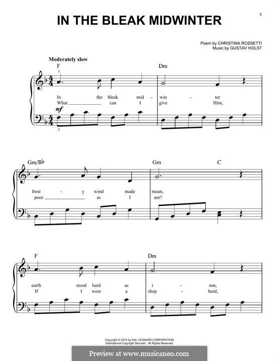 In the Bleak Midwinter: Für Klavier by Gustav Holst