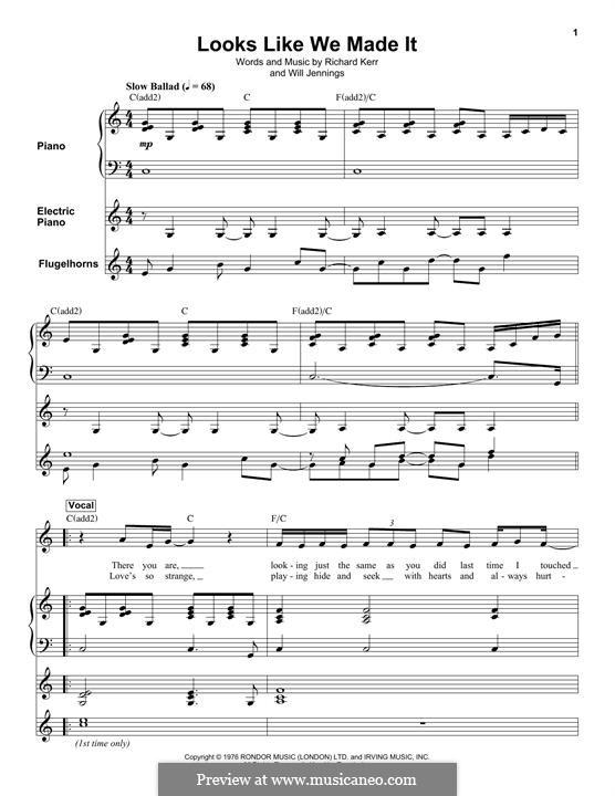 Looks Like We Made It: Für Stimme und Klavier by Richard Kerr, Will Jennings