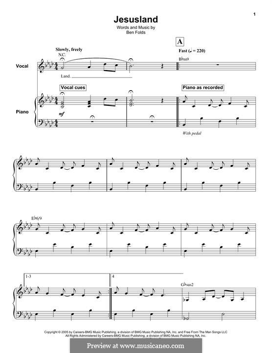 Jesusland: Für Stimme und Klavier (oder Gitarre) by Ben Folds