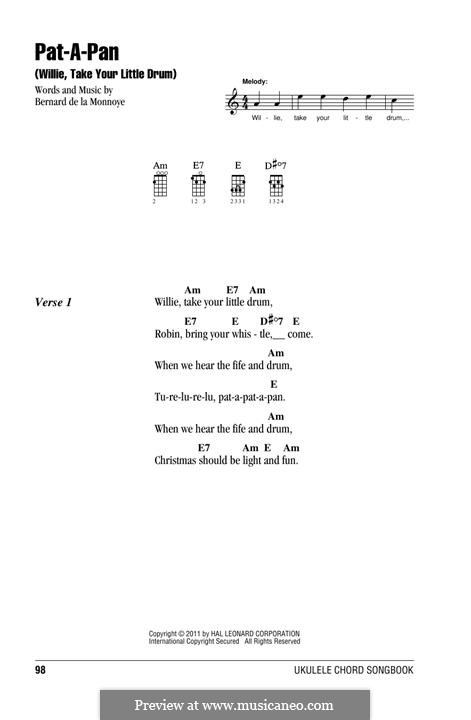 Pat-a-Pan (Willie, Take Your Little Drum): Für Ukulele by Bernard de la Monnoye