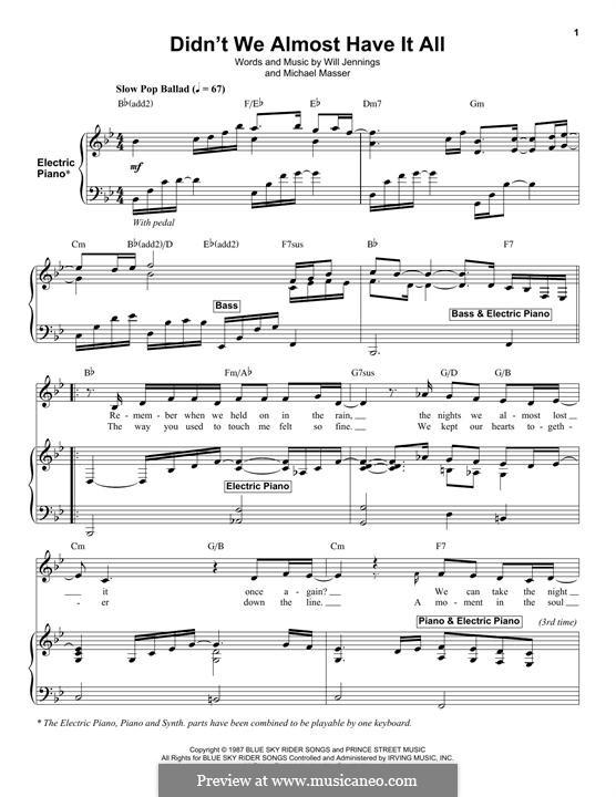 Didn't We Almost Have It All (Whitney Houston): Für Stimme und Klavier (oder Gitarre) by Michael Masser, Will Jennings