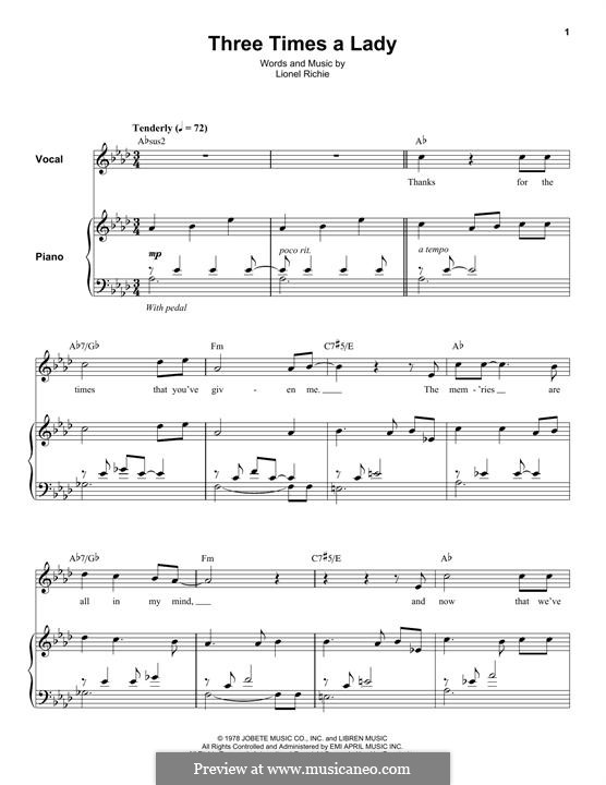 Three Times a Lady: Für Stimme und Klavier (oder Gitarre) by Lionel Richie