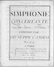 Symphonies Concertantes: First Suite, No.1 for two flutes and orchestra by Giuseppe Maria Cambini