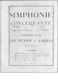 Symphonies Concertantes: First Suite, No.3 for two flutes and orchestra by Giuseppe Maria Cambini
